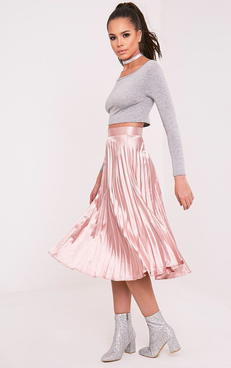 Harmonia Blush Satin Pleated Midi Skirt 1