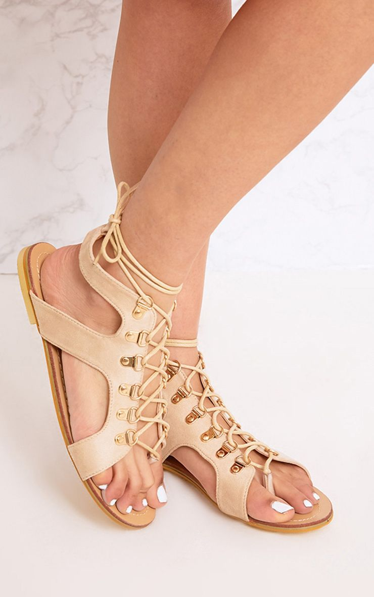Nerina Nude Lace Up Gladiator Sandals