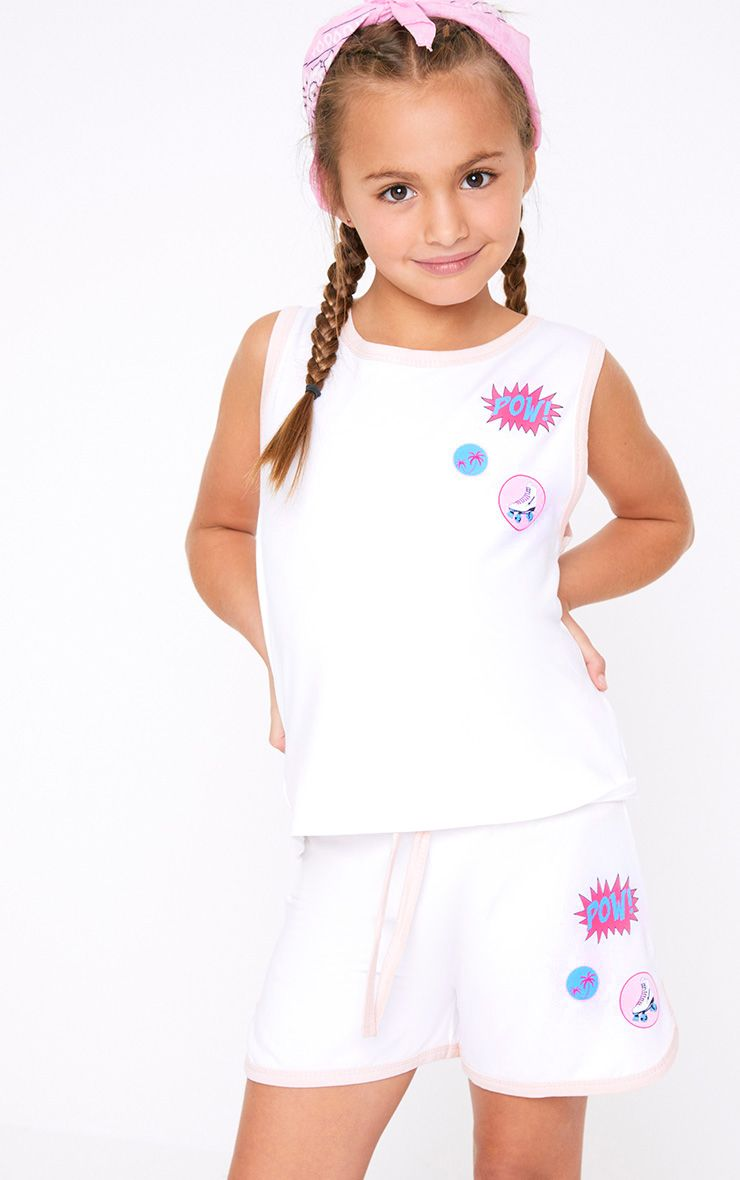 Badge Print Sleeveless White Top