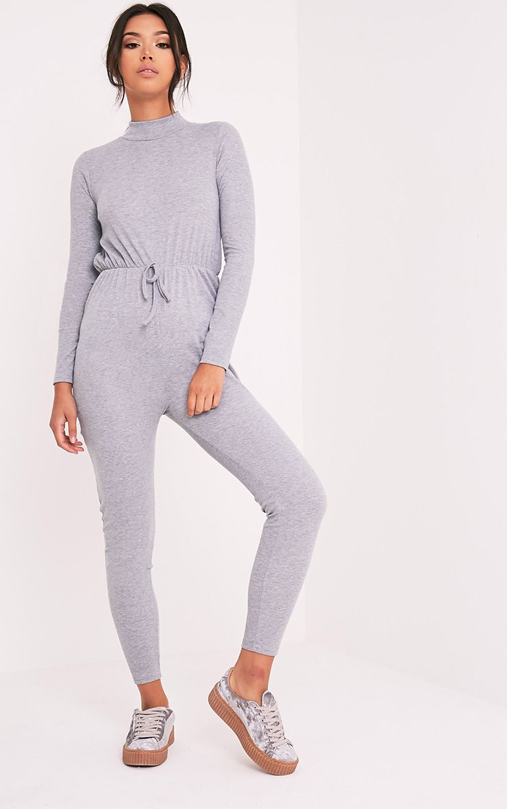 Tessie Grey Long Sleeve Ribbed Jumpsuit 1