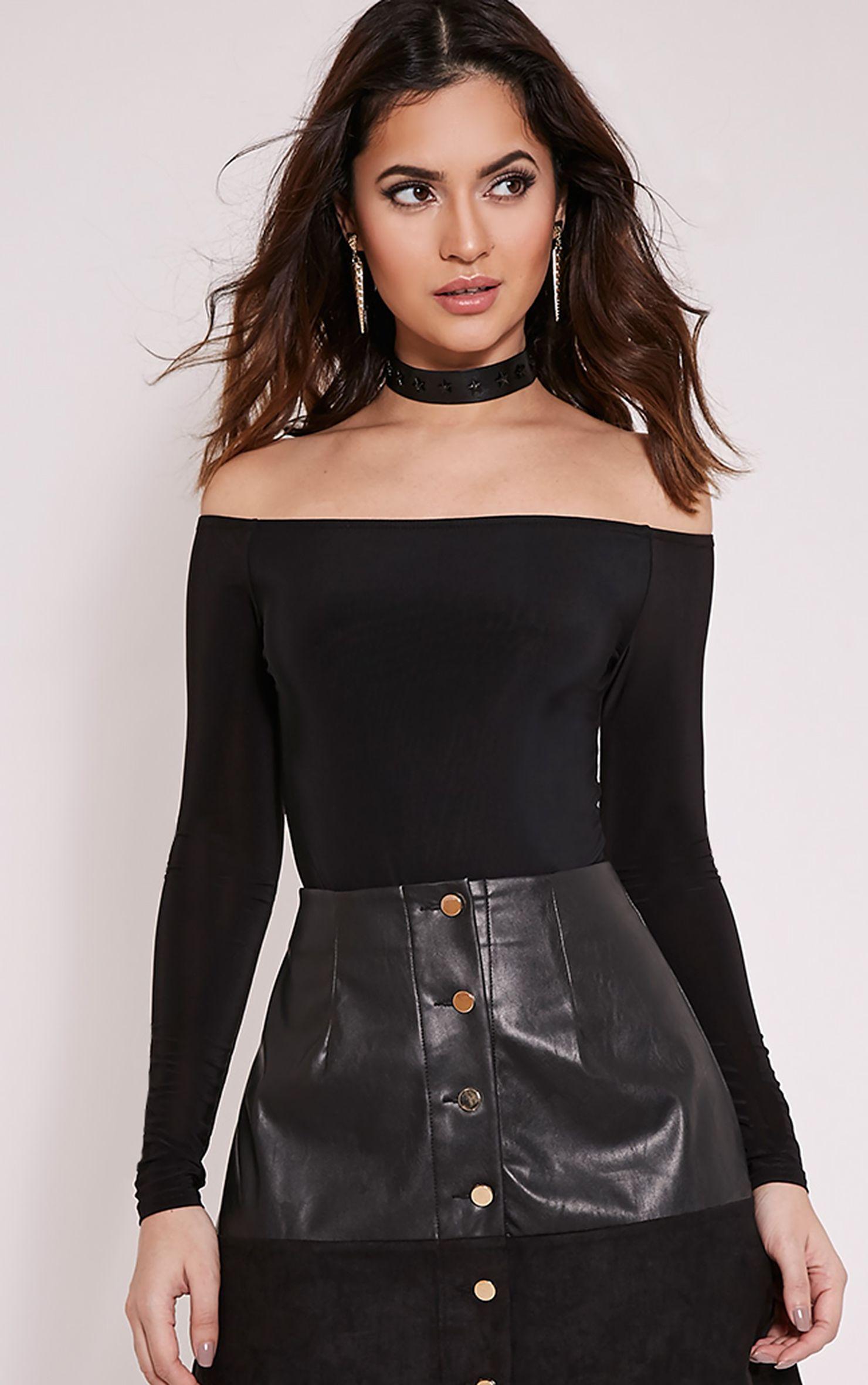 Rossalyn Black Slinky Bardot Bodysuit