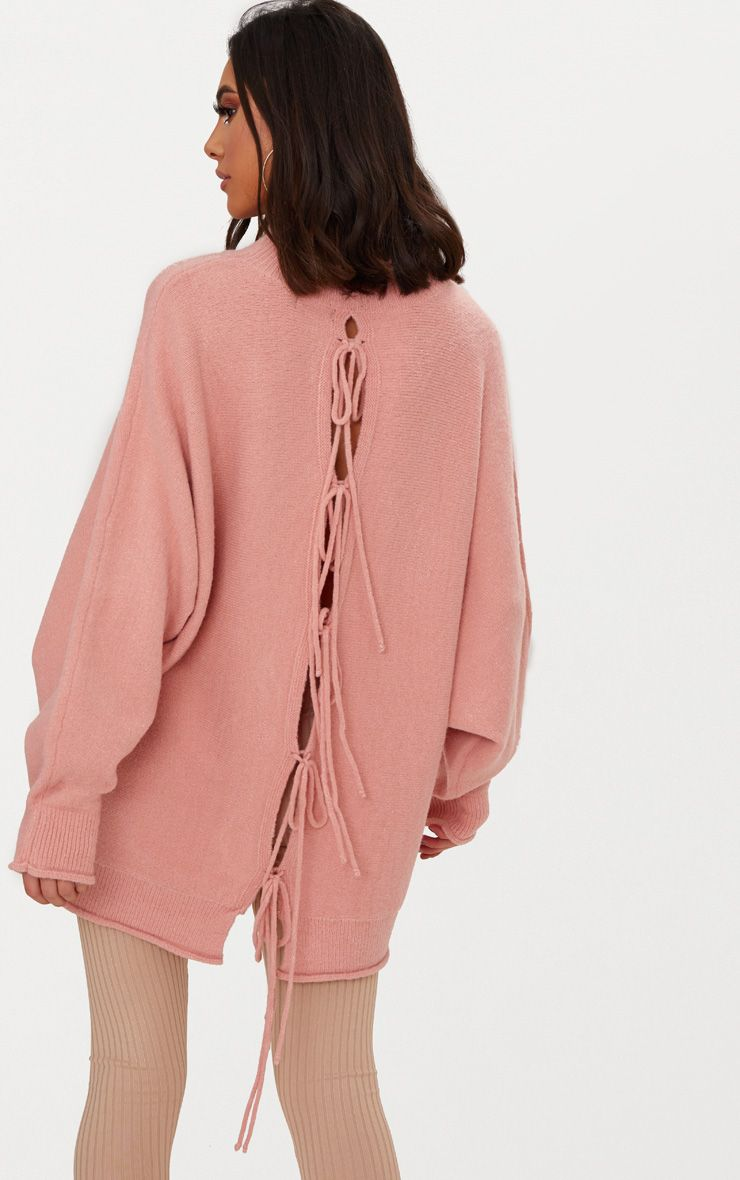 Pink Lace Up Back Oversized Knitted Jumper