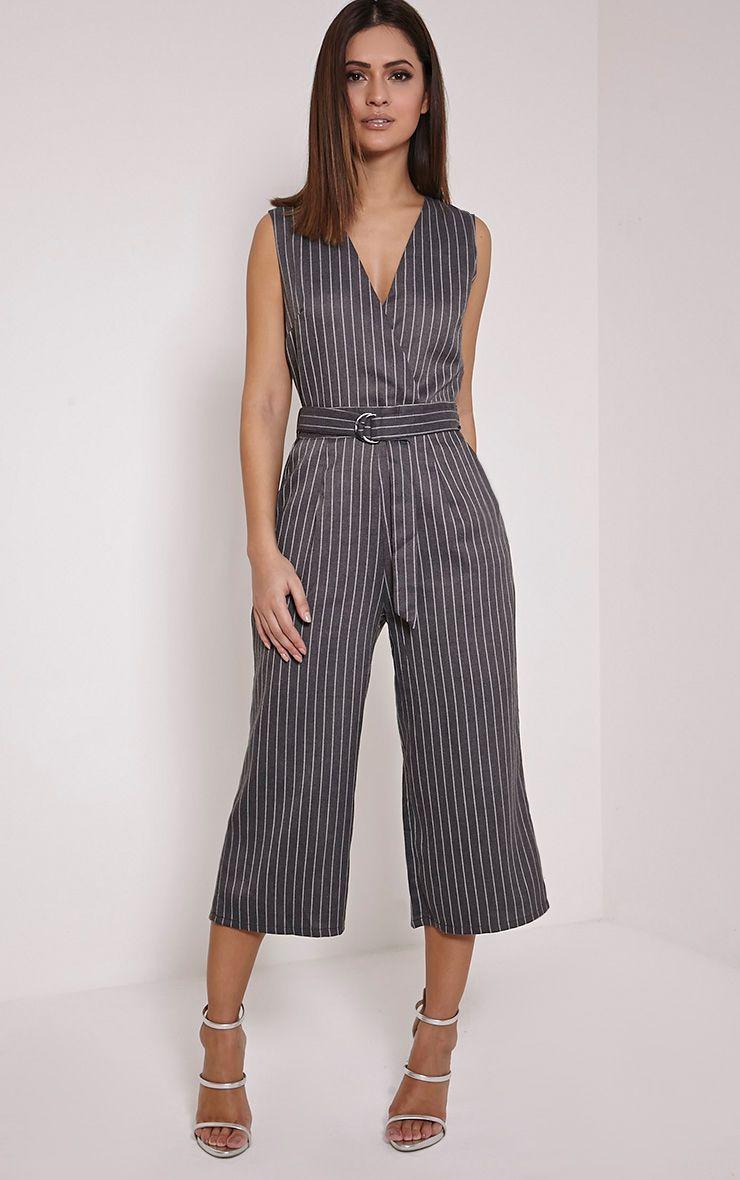 Kimmi Grey Pinstripe D Ring Culotte Jumpsuit 1