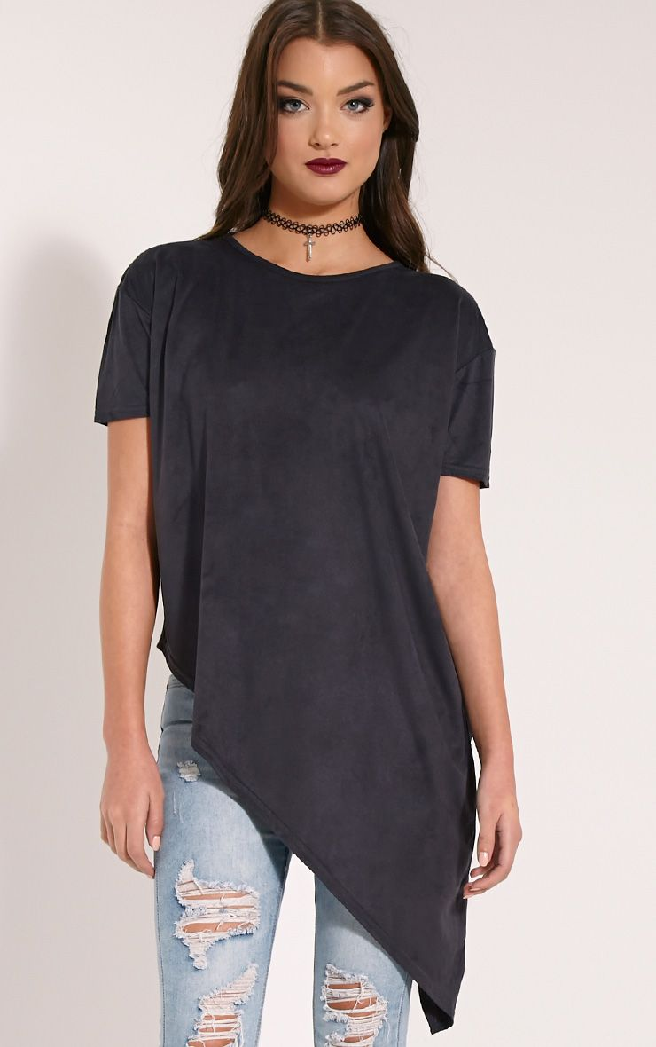 Embry Black Aysymmetric Hem Faux Suede T-Shirt 1