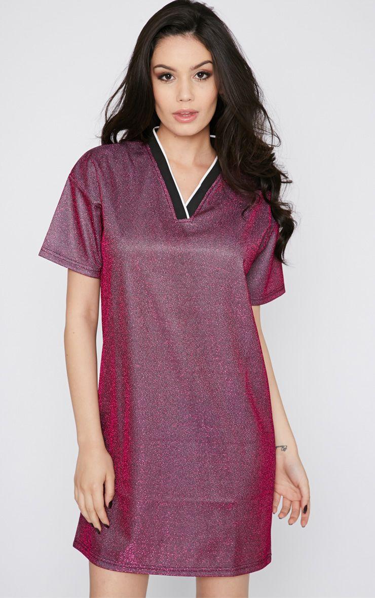Luyu Pink Glitter Sporty Shift Dress 1