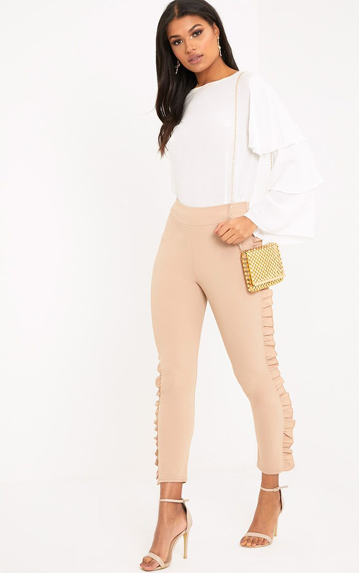Ornella Stone Frill Detail Skinny Trousers