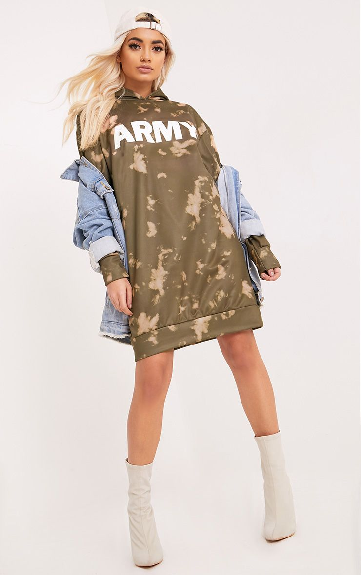 Army Tie Dye Jumper Dress Khaki
