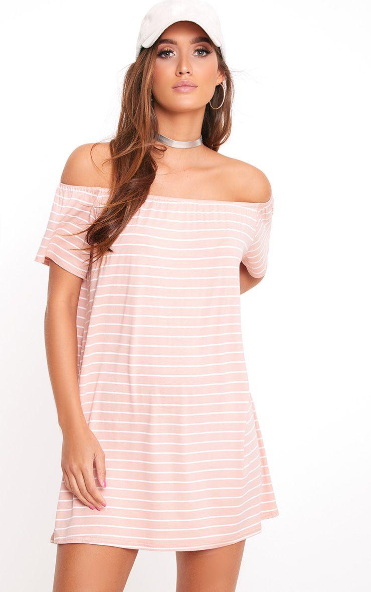 Pink Stripe Bardot Shift Dress