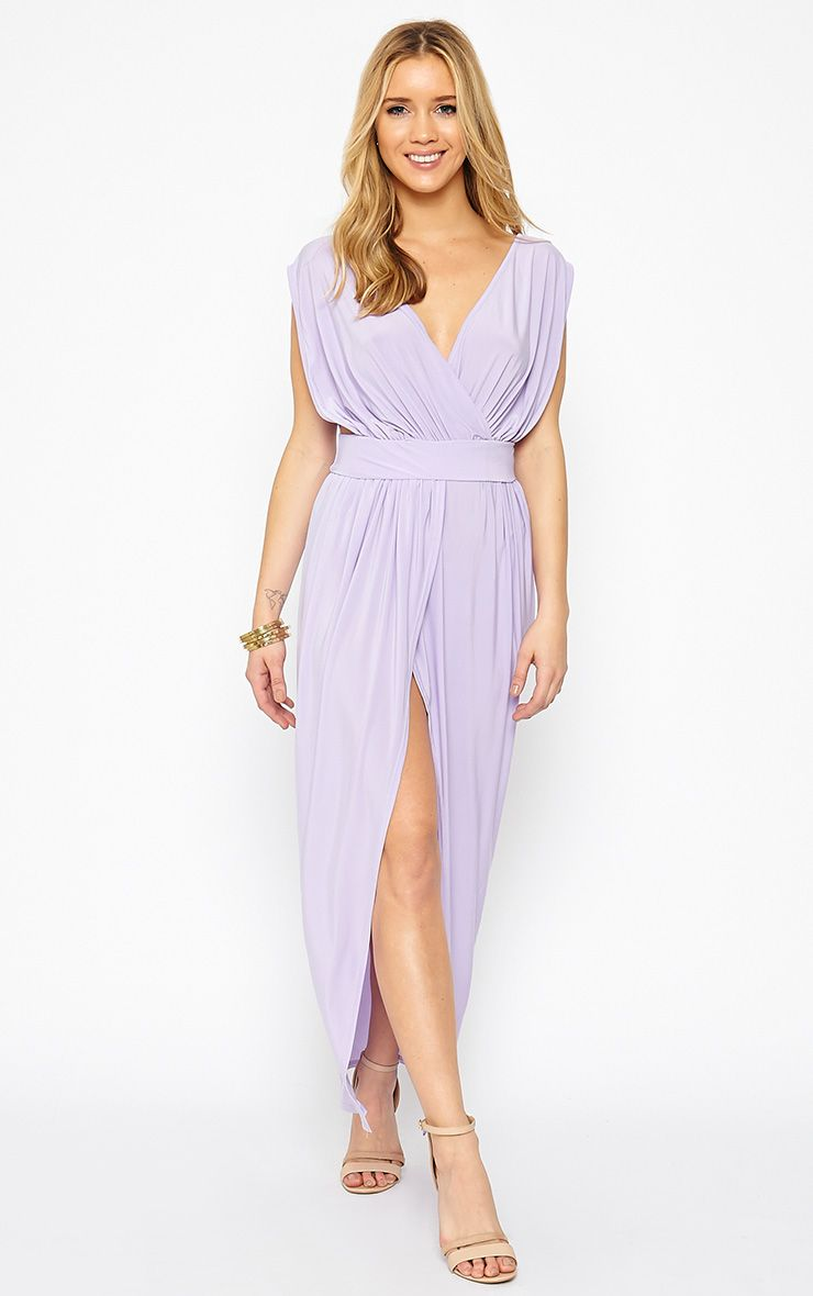 Marlisa Lilac Slinky Plunge Maxi Dress 1
