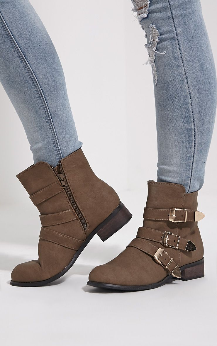 Martha Taupe Three Buckle Ankle Boots 1