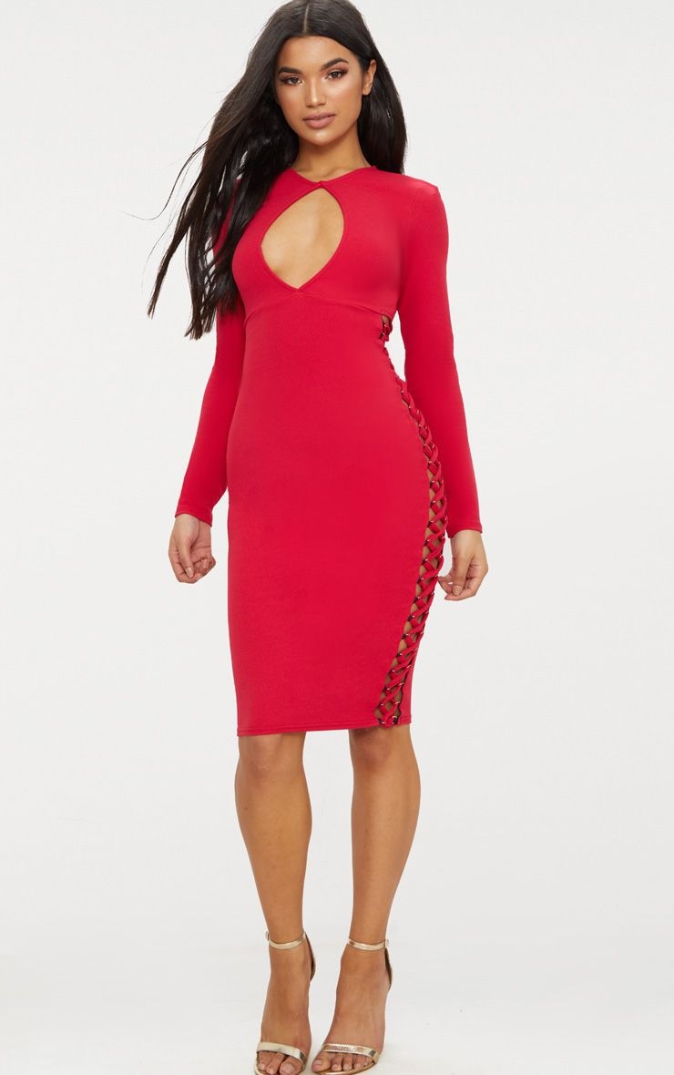 red cut out top lace up side midi dress, red