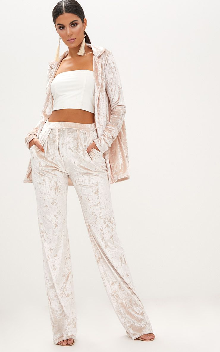 Champagne Crushed Velvet Wide Leg Suit Trousers