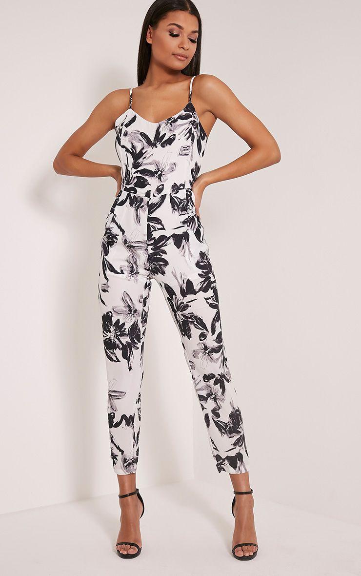 Leonela White Floral Print Jumpsuit 1