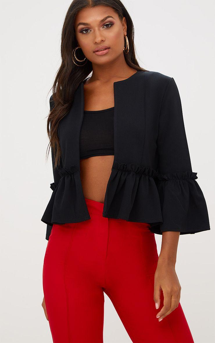Black Frill Sleeve Blazer