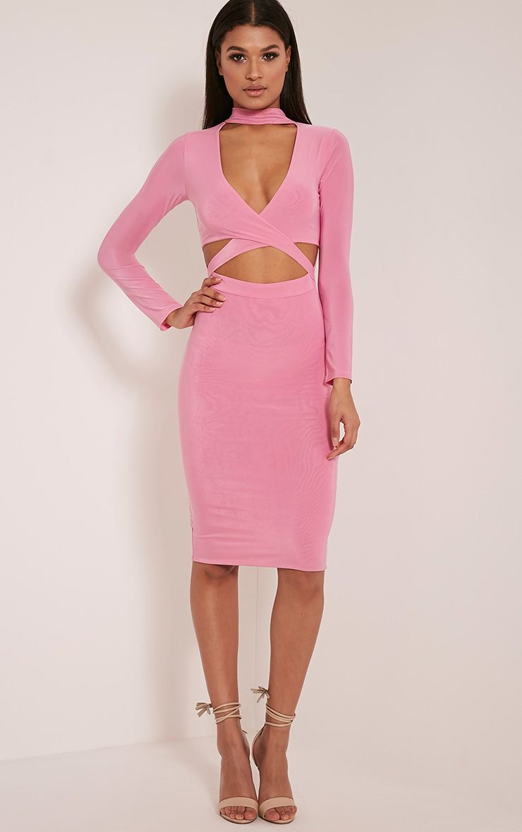Nadeena Bubblegum Pink Neck Detail Cut Out Midi Dress 1