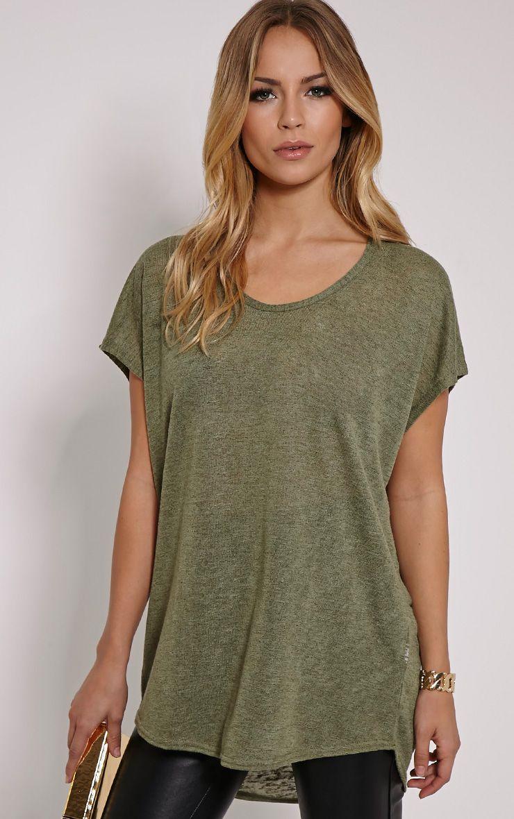 Latilda Khaki Woven Slub T-Shirt 1