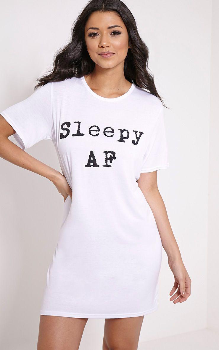 Sleepy AF White Oversized Nightshirt 1
