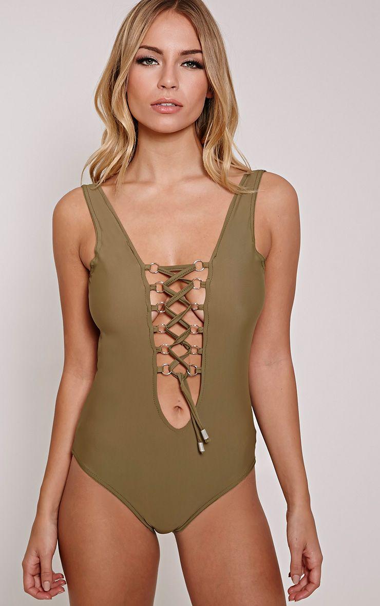 Annie Khaki Slinky Lace Up Detail Bodysuit 1