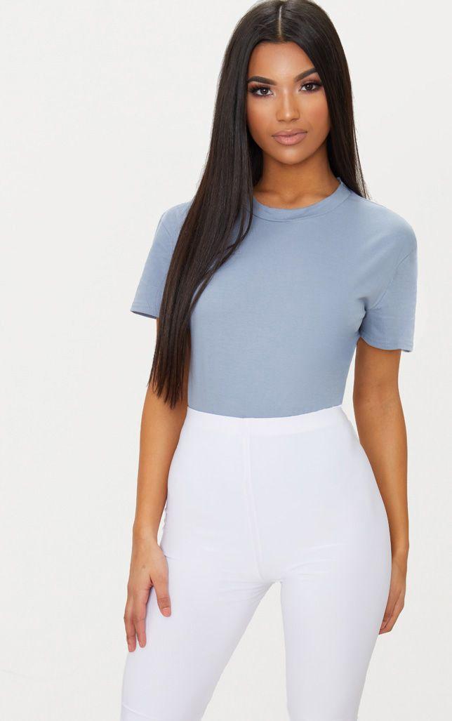 Dusky Blue Cotton Stretch T Shirt Thong Bodysuit