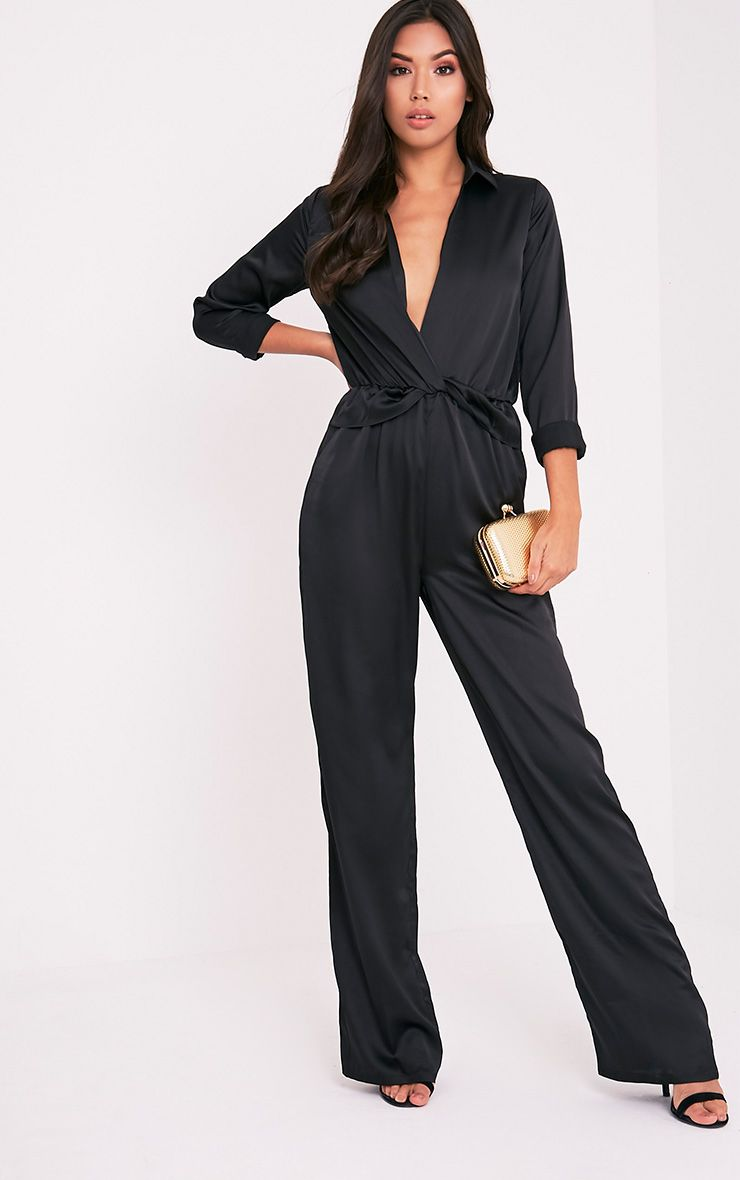 Valerie Black Long Sleeve Wide Leg Plunge Jumpsuit