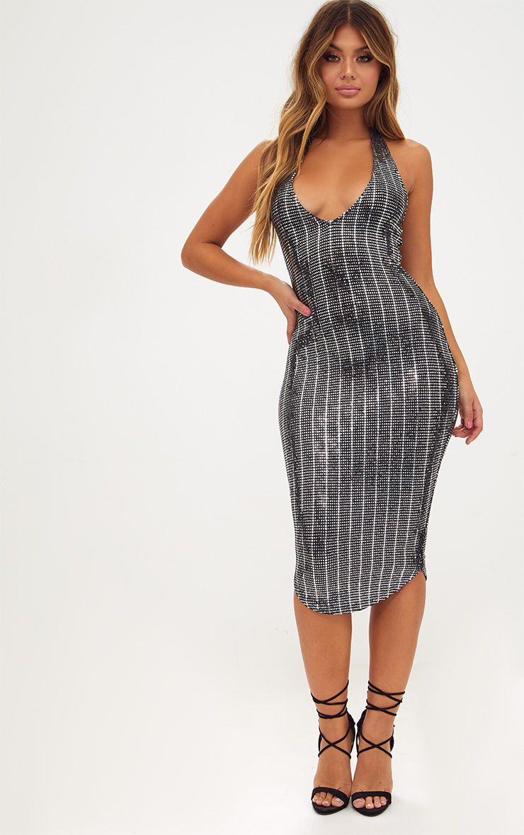 Silver Plunge Halterneck Metallic Textured Midi Dress