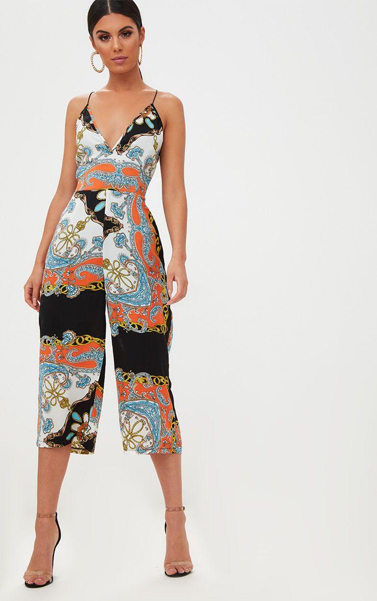 Black Scarf Print Plunge Culotte Jumpsuit