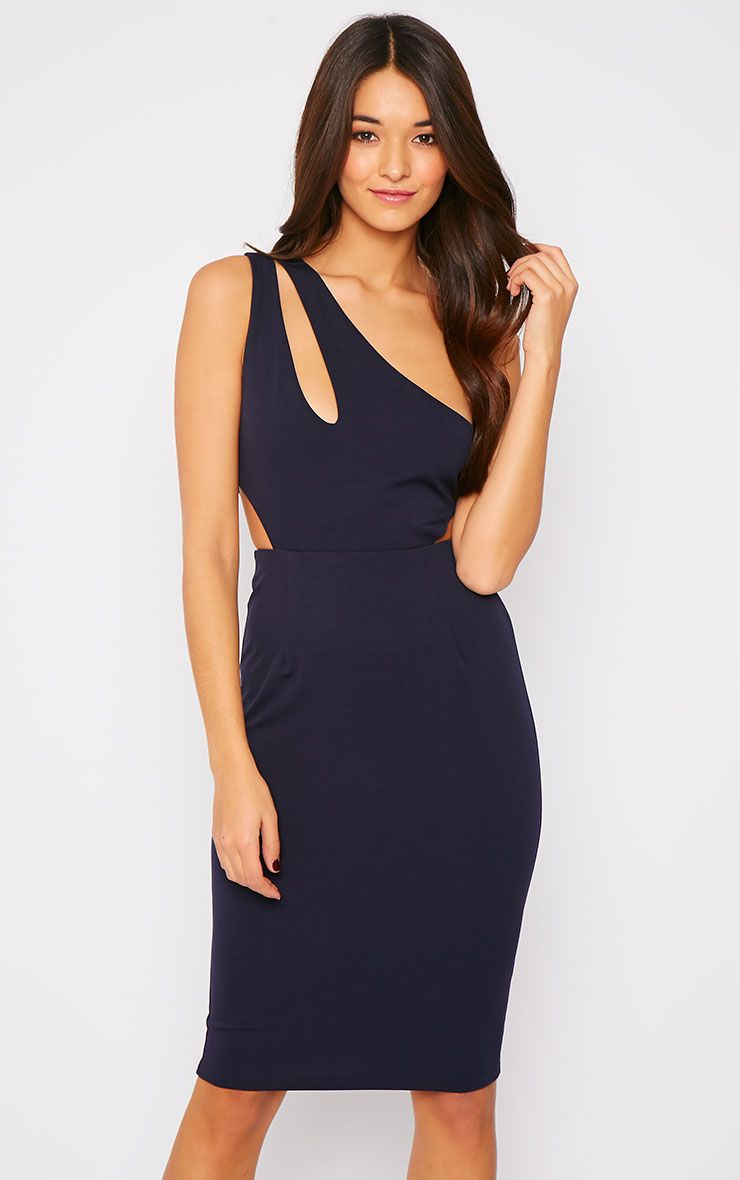 Angelina Navy One Shoulder Cut Out Midi Dress 1
