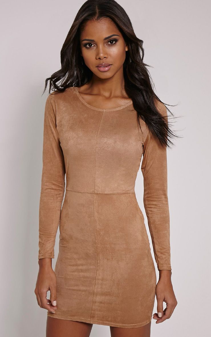 Braelynn Tan Faux Suede Long Sleeve Mini Dress 1