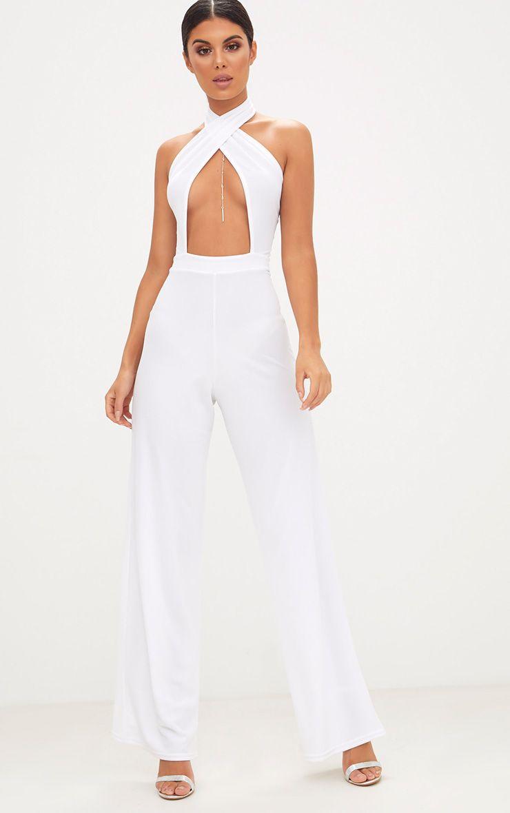 White Crepe Under Boob Wrap Front Jumpsuit