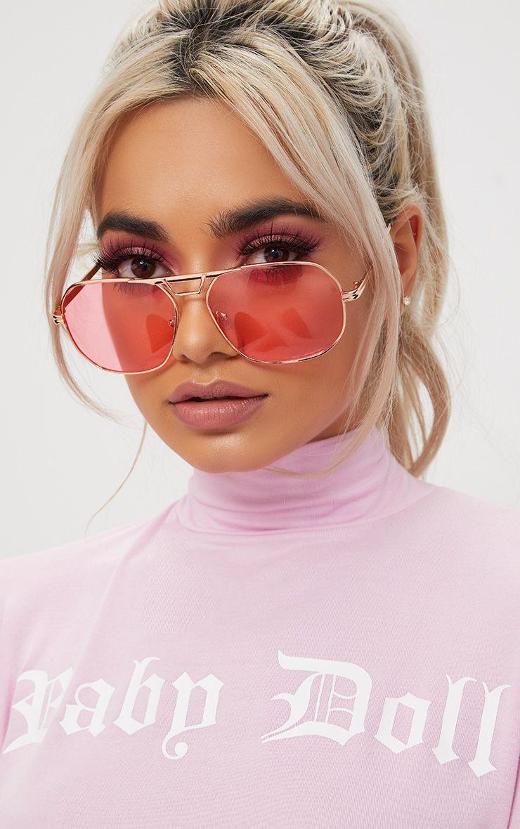 Pink Metal Frame Retro Aviator Sunglasses