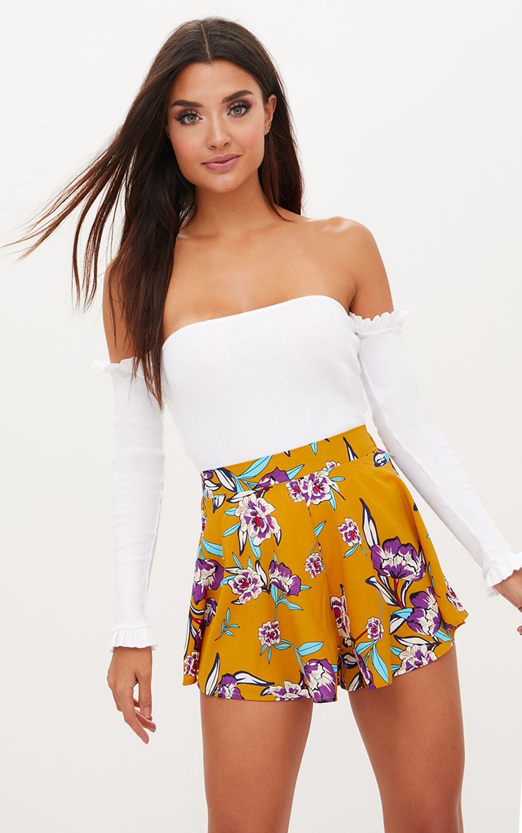 Mustard Floral Floaty Shorts