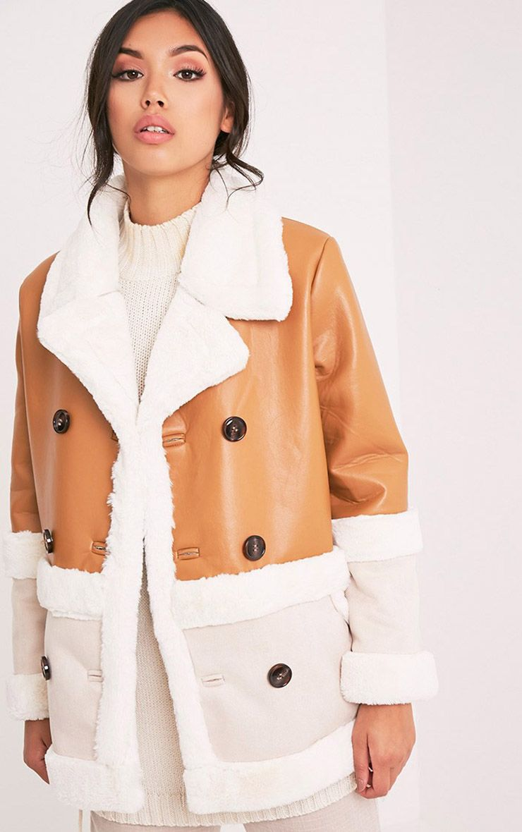 Rubie Tan Faux Leather Colour Block Coat 1