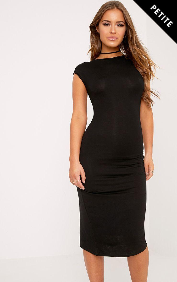 Petite Ayn Black Aysmmetric Drape Midi Dress