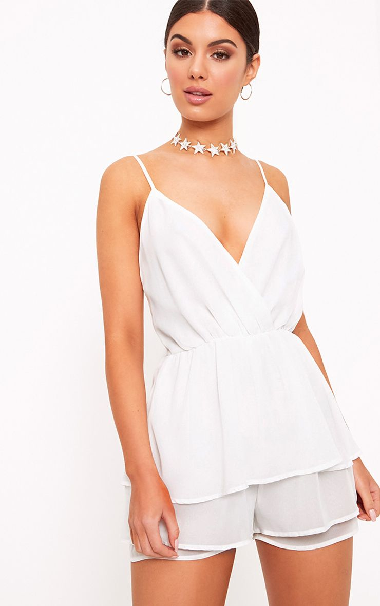 Joney White Frill Layer Playsuit