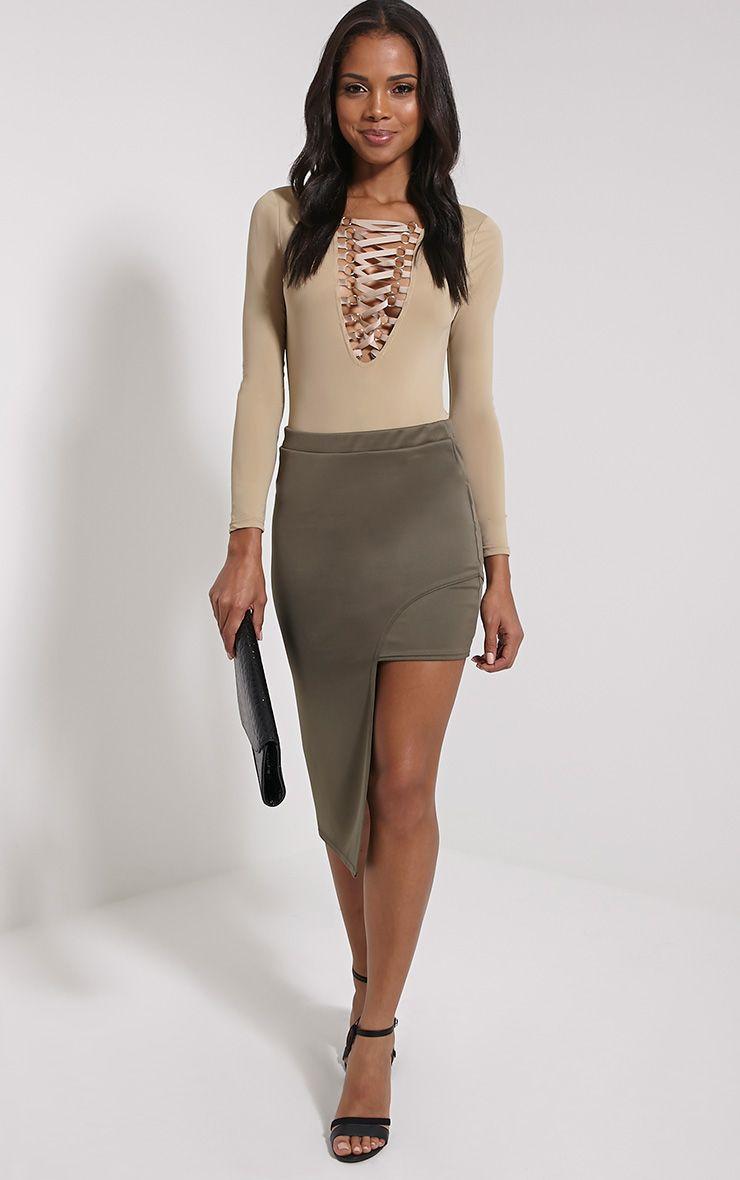 Joslyn Khaki Asymmetric Drop Hem Midi Skirt 1