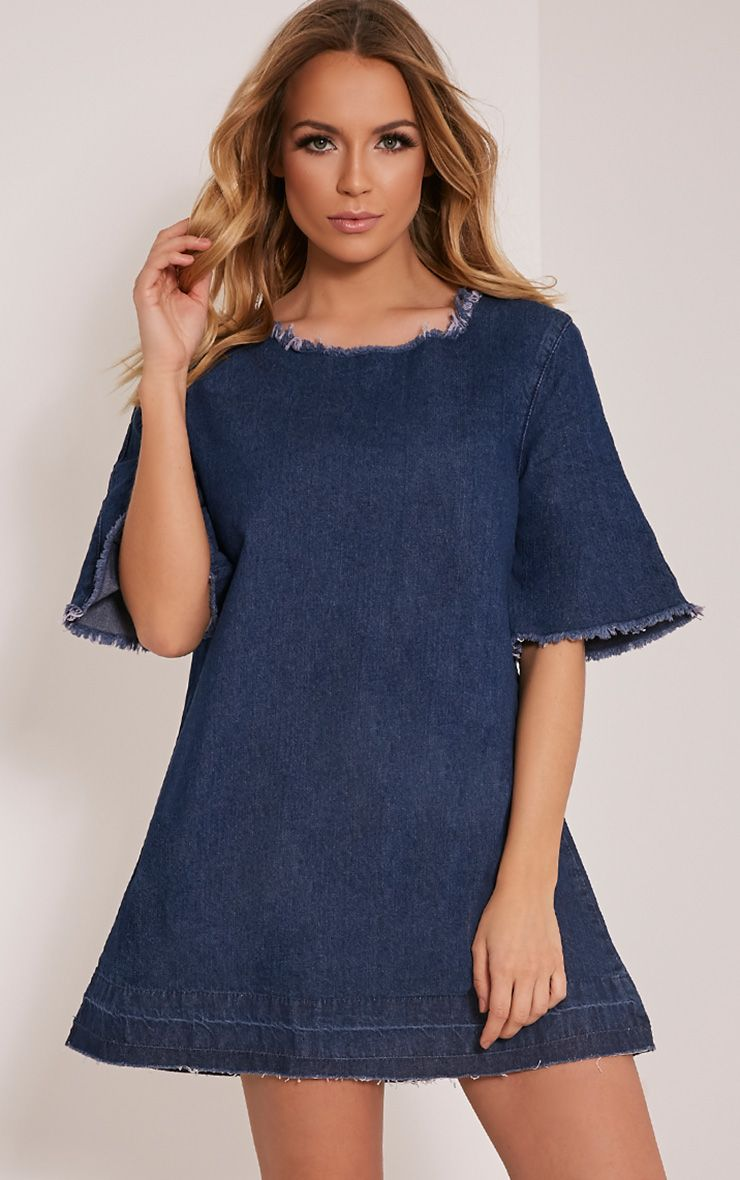 Calee Blue Dark Wash Denim Shift Dress 1