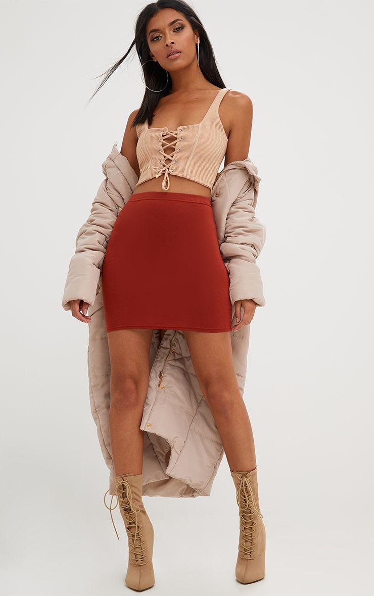 Rust Basic Mini Skirt