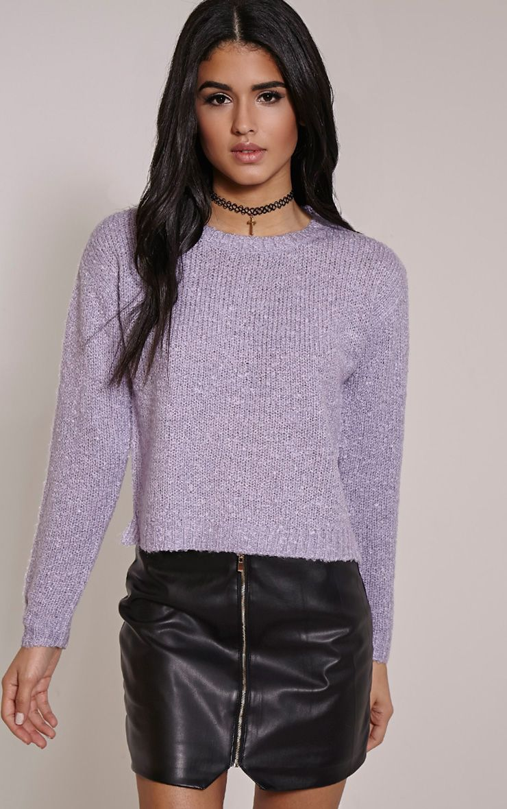 Karissa Lilac Boucle Knitted Jumper 1