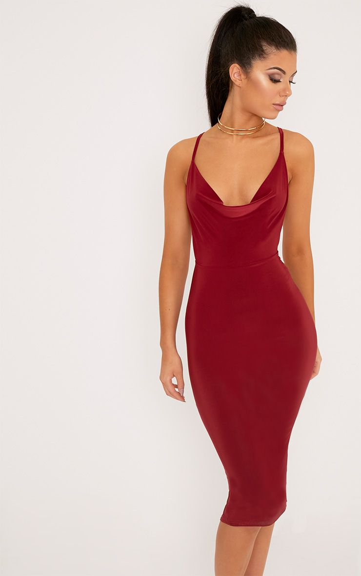 Burgundy Cross Back Cowl Neck Slinky Midi Dress 1