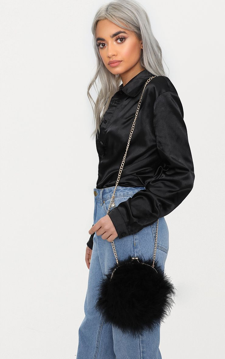 Black Feather Circle Clutch Bag