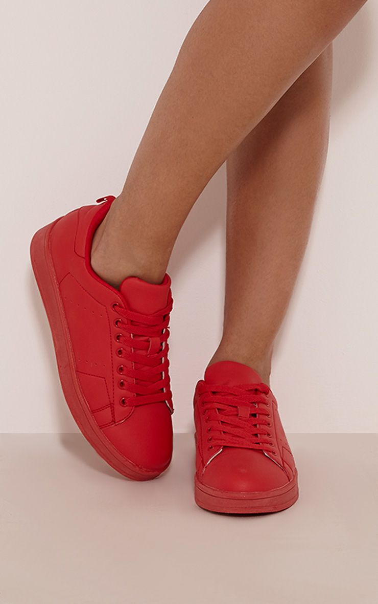 Saya Red Casual Lace Up Trainers 1