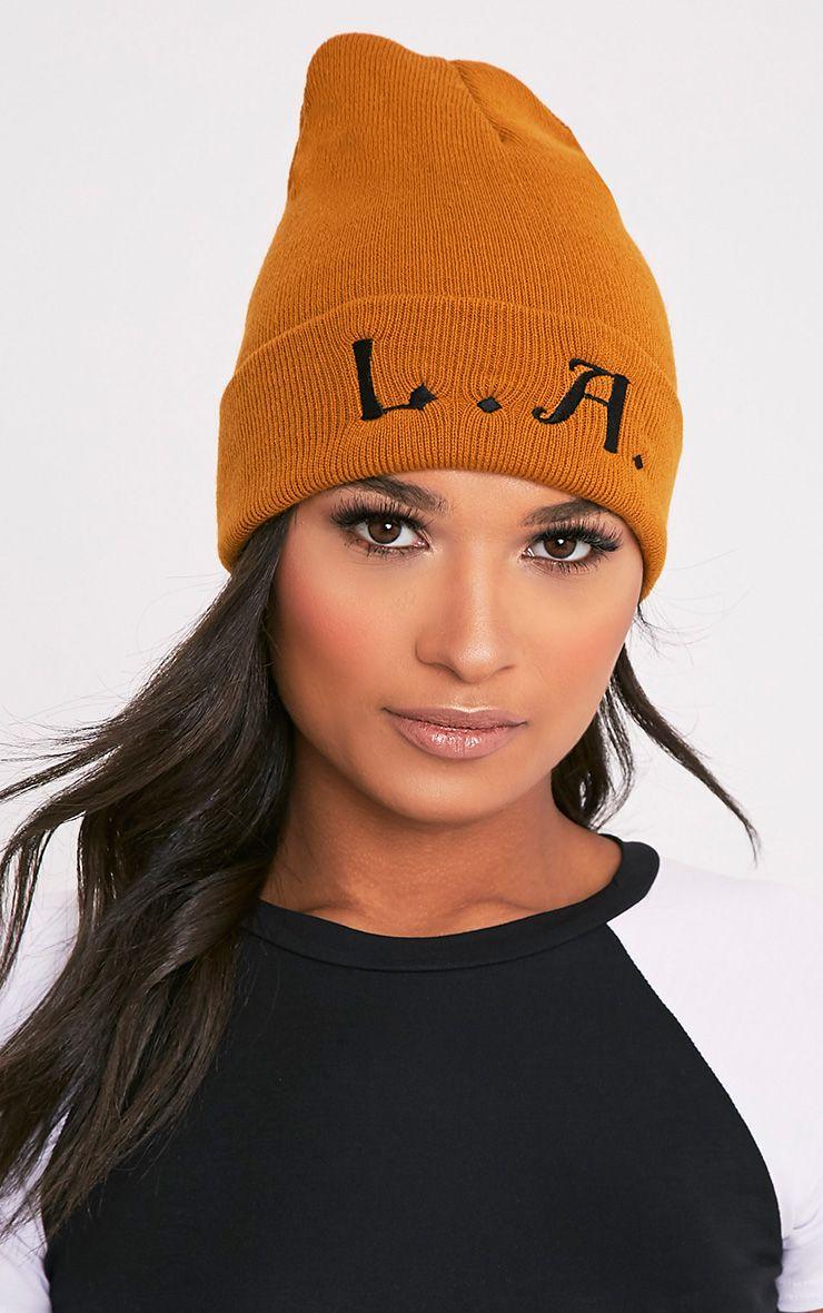 L.A. Slogan Mustard Beanie Hat