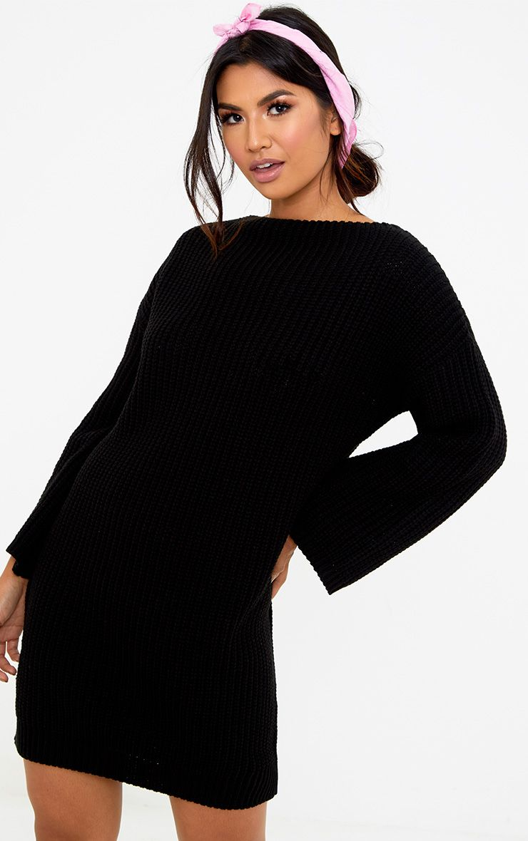 Black Chunky Knit Flute Sleeve Jumper