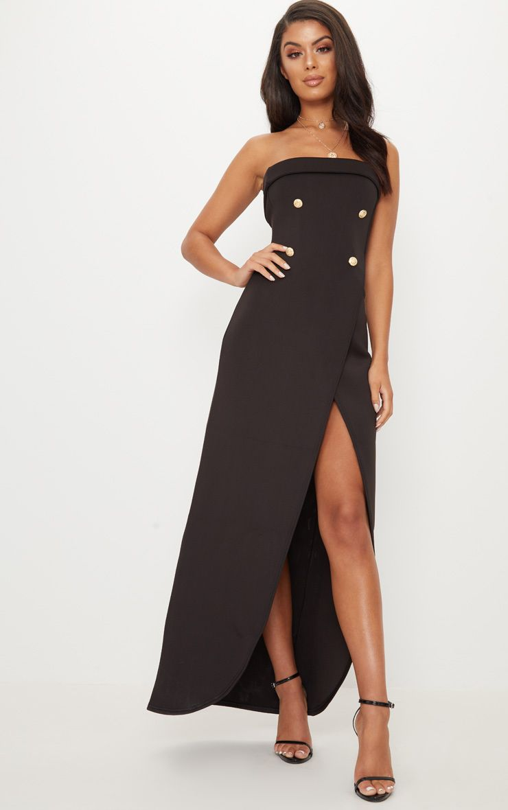 Black Bandeau Wrap Button Detail Tailored Maxi Dress