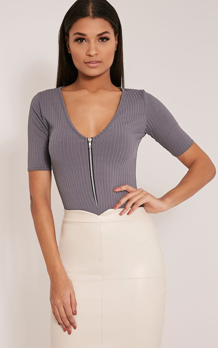 Cira Grey Ribbed Zip Front V Neck Bodysuit 1