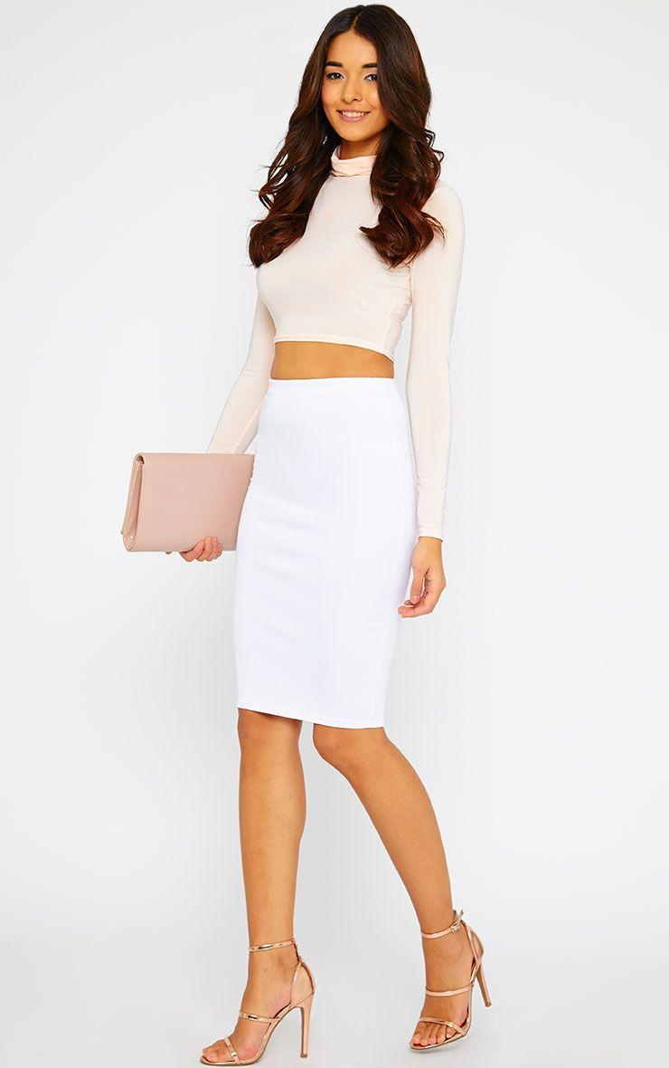 Winnie White Scuba Midi Skirt 1