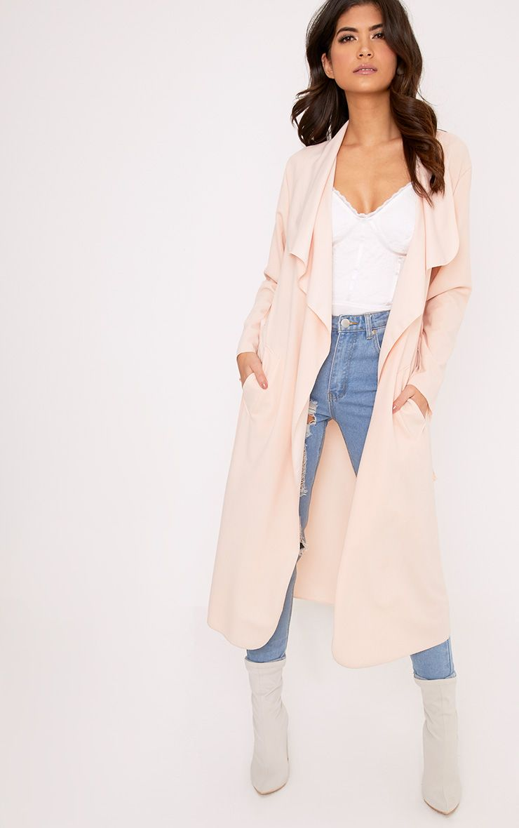 Livia Nude Lightweight Belted Waterfall Jacket
