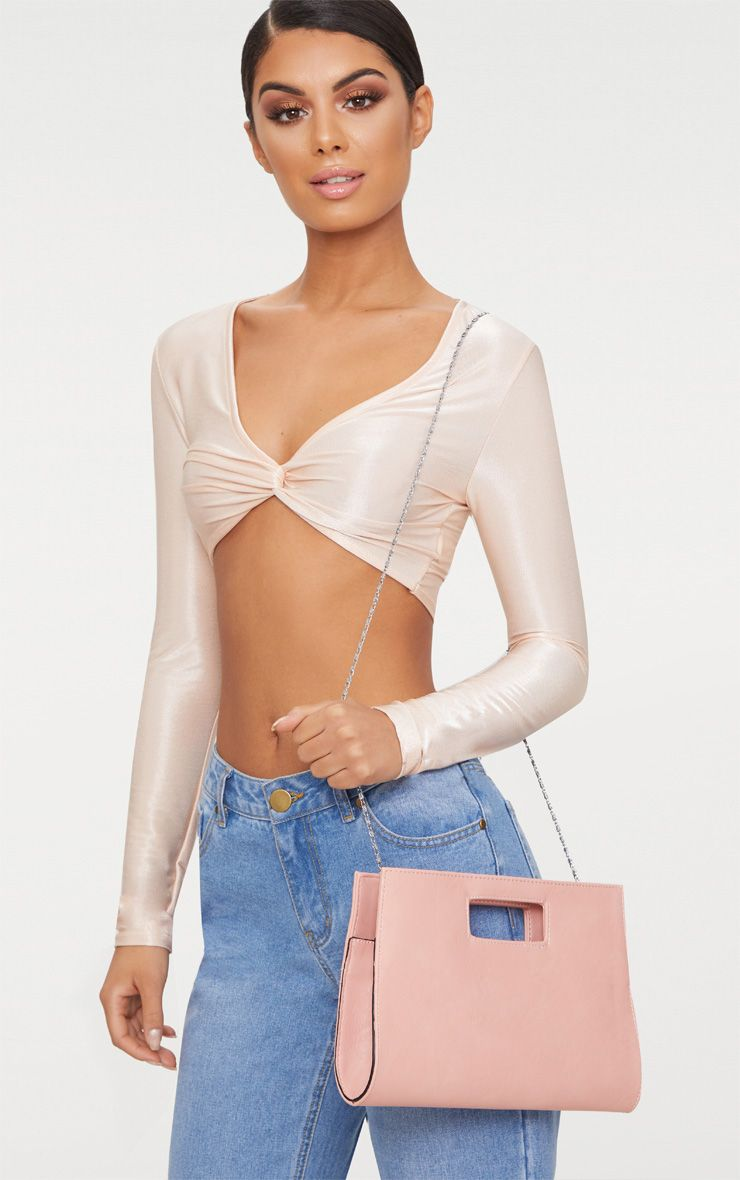 Light Pink Cut Out Handle Clutch Bag