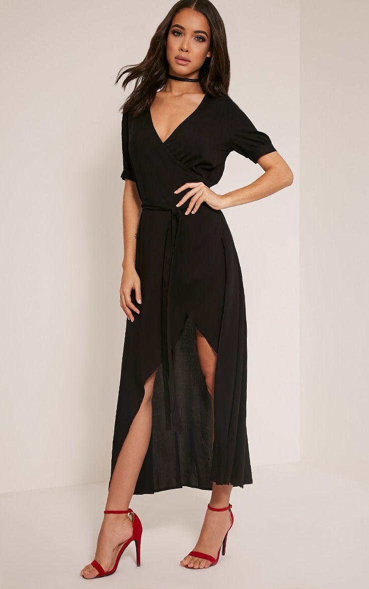 Renesmee Black Wrap Maxi Shirt Dress 1