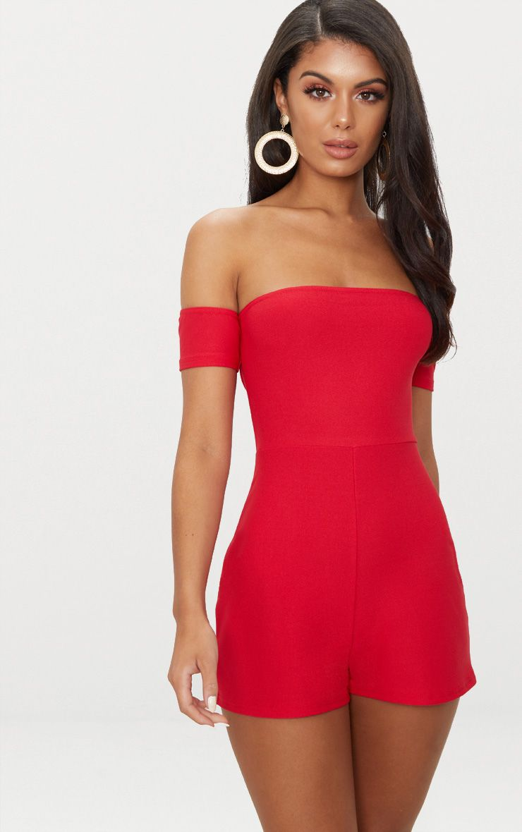 Red Crepe Short Sleeve Bardot Playsuit